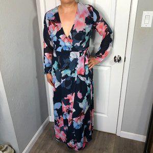 Bar III Maxi Floral Wrap Dress Navy Blue Sz M